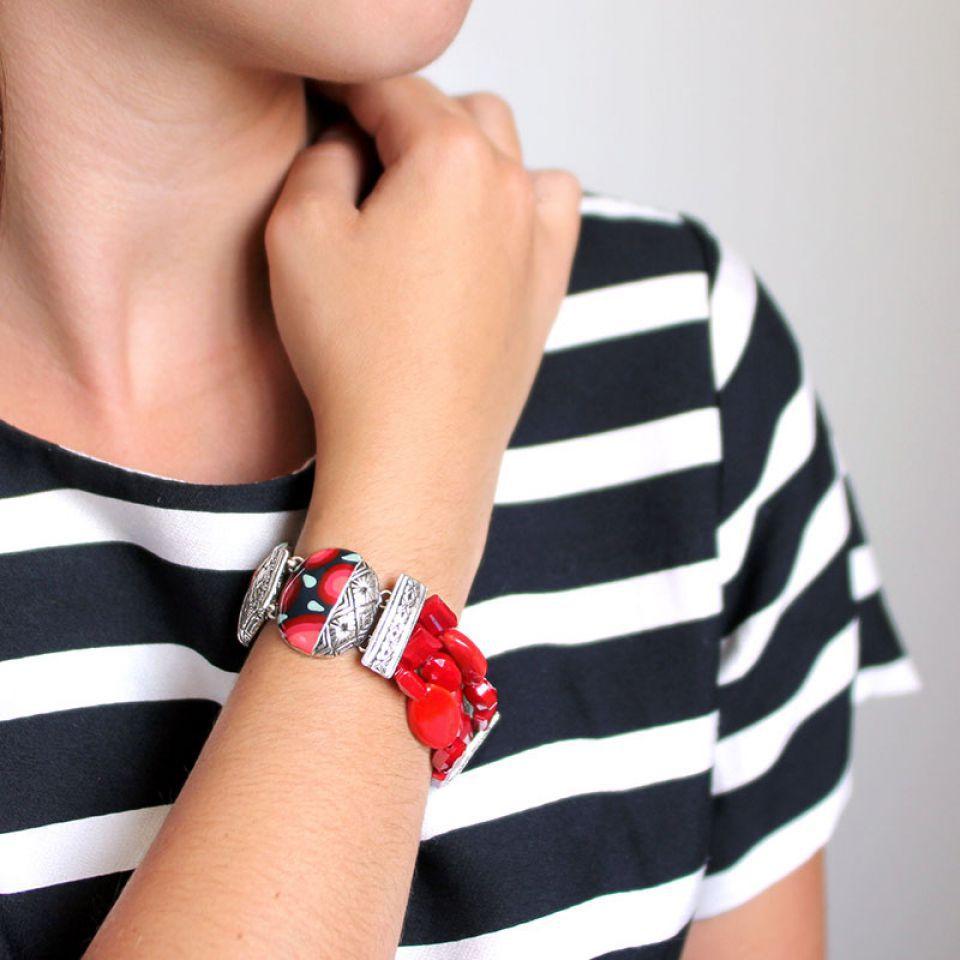 Bracelet Amarena Argent Rouge Taratata Bijoux Fantaisie en ligne 4