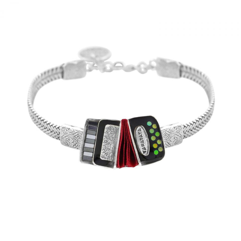 Bracelet Amoureuse Argent Noir Taratata Bijoux Fantaisie en ligne 1