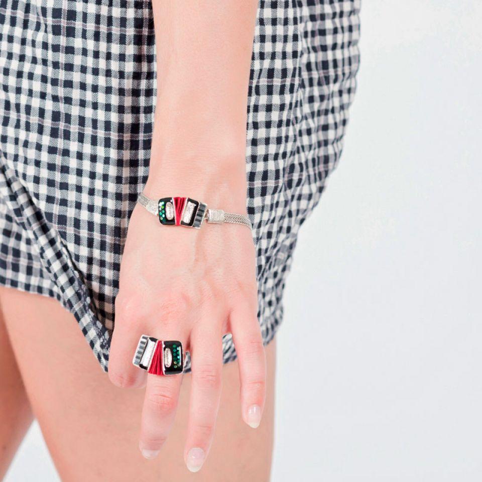 Bracelet Amoureuse Argent Noir Taratata Bijoux Fantaisie en ligne 2