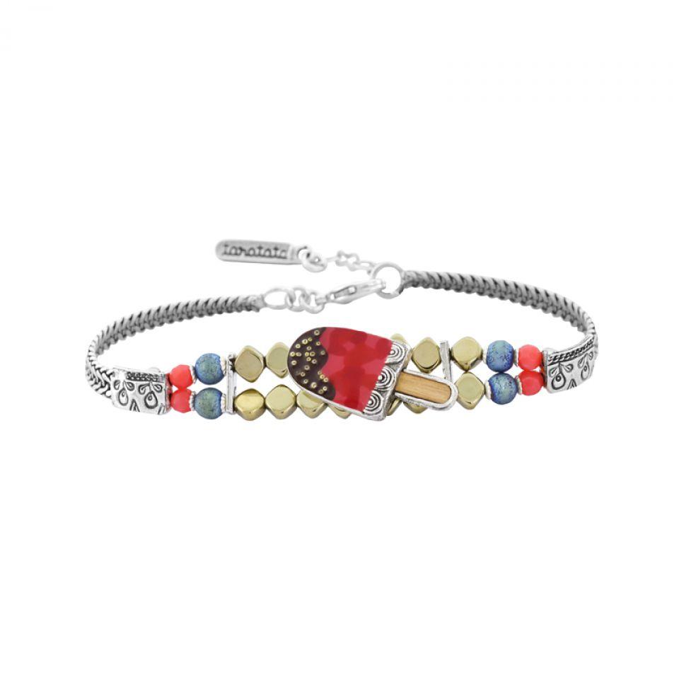 Bracelet Chouchous Argent Rouge Taratata Bijoux Fantaisie en ligne 1