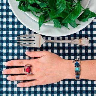 Bracelet Corail Argent Bleu