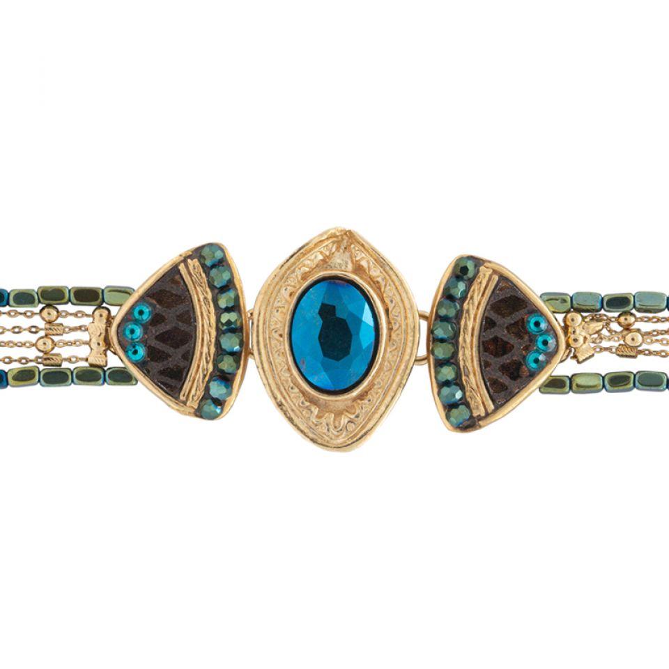 Bracelet Emeraude Dore Marron Taratata Bijoux Fantaisie en ligne 3