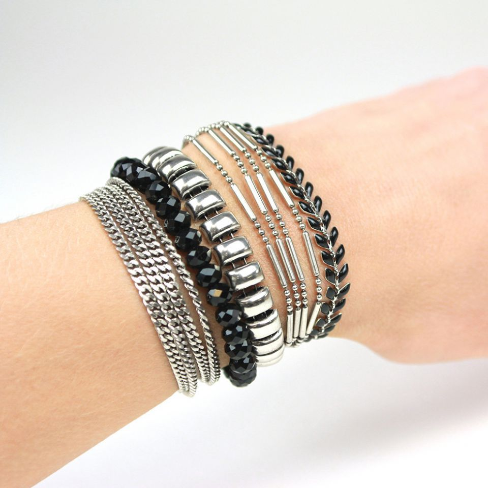 Bracelet Essentiel Argent Noir Taratata Bijoux Fantaisie en ligne 2