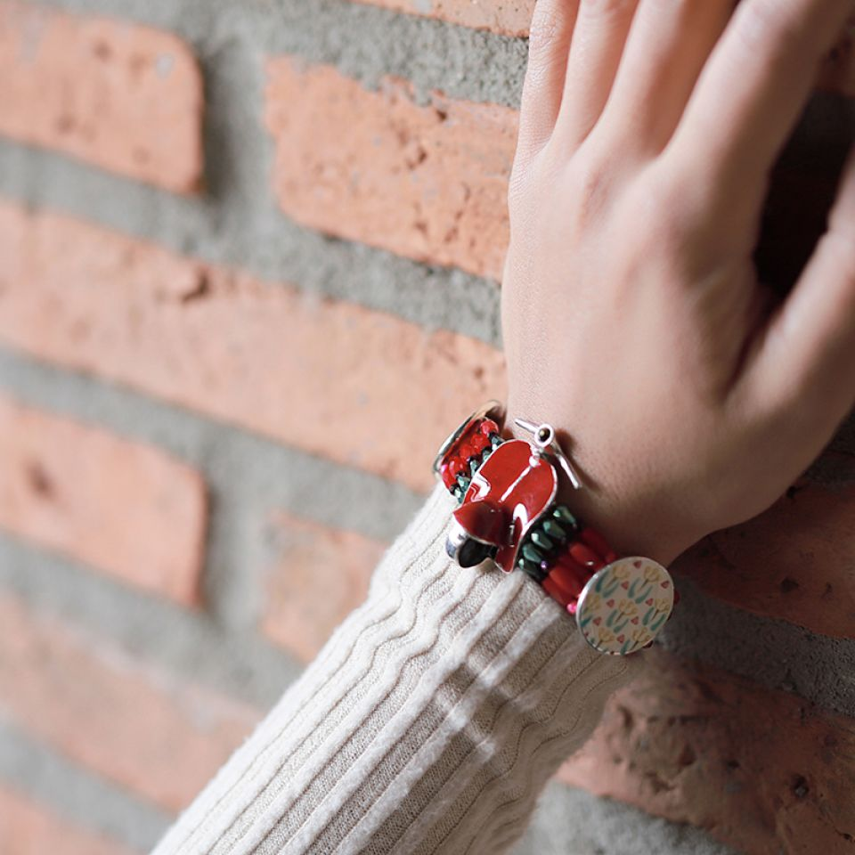 Bracelet Gina Argent Rouge Taratata Bijoux Fantaisie en ligne 2
