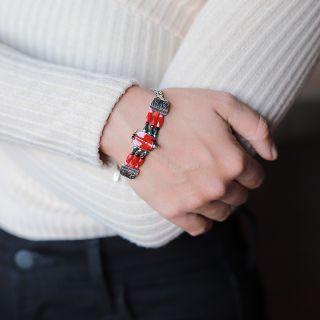 Bracelet Gina Argent Rouge