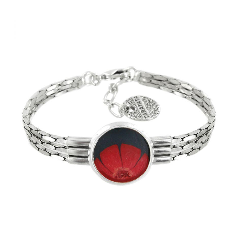 Bracelet Gombos Argent Rouge Taratata Bijoux Fantaisie en ligne 1