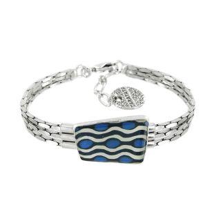 Bracelet Gombos Argent Bleu