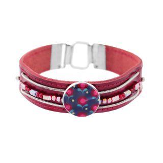 Bracelet Grenadine Argent Rouge