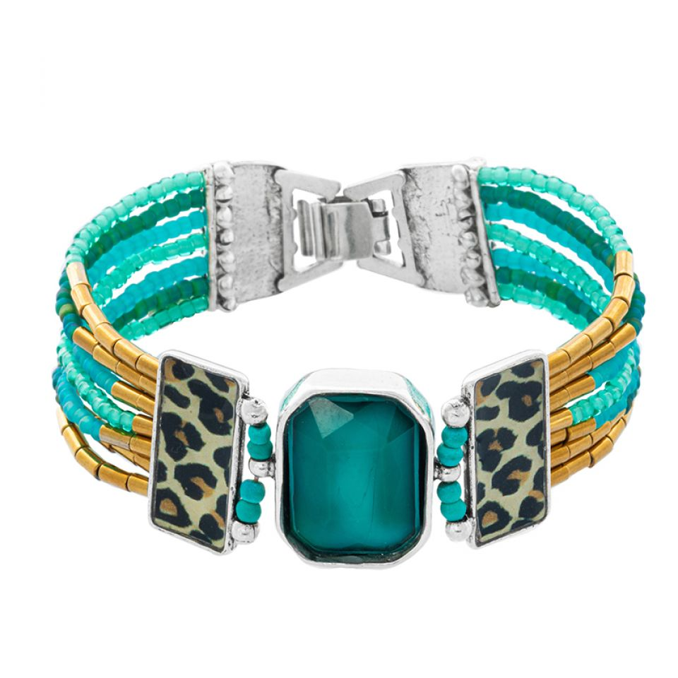Bracelet Panthere Bleue Argente Turquoise Taratata Bijoux Fantaisie en ligne 2