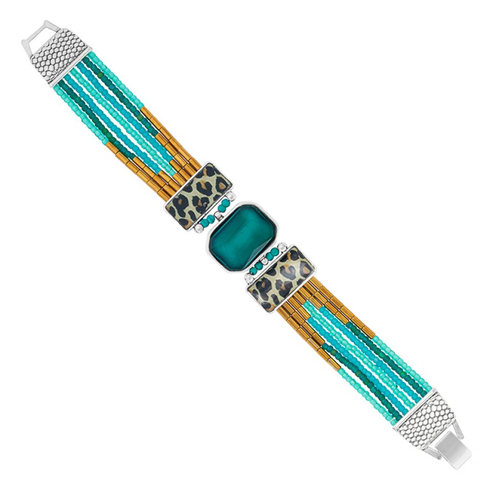Bracelet Panthere Bleue Argente Turquoise Taratata Bijoux Fantaisie en ligne 3
