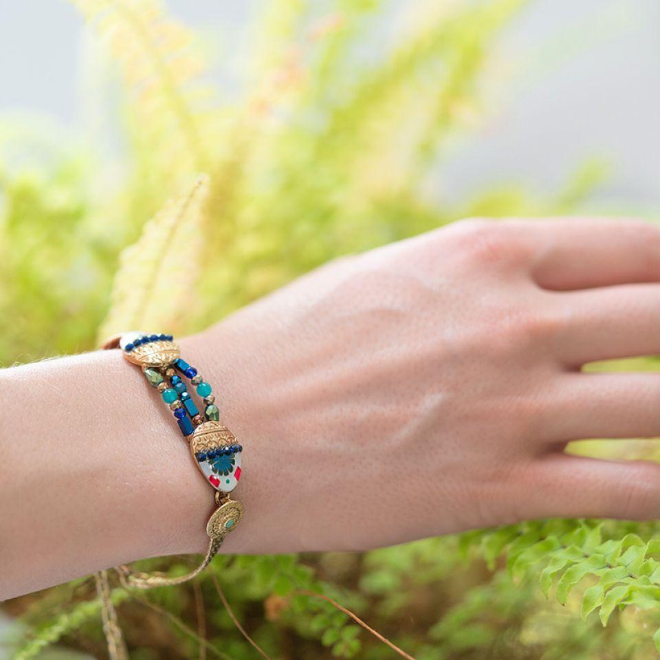 Bracelet Romeo Dore Bleu Taratata Bijoux Fantaisie en ligne 2