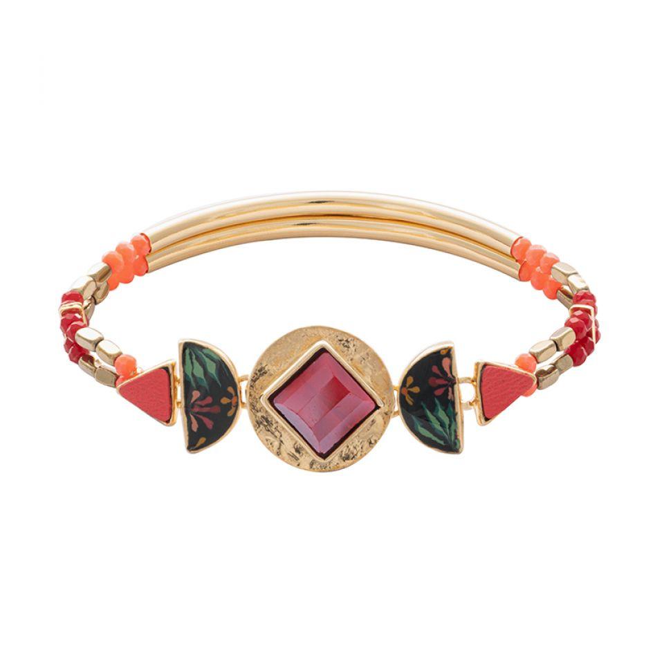 Bracelet Rose Bonbon Dore Rouge Taratata Bijoux Fantaisie en ligne 1