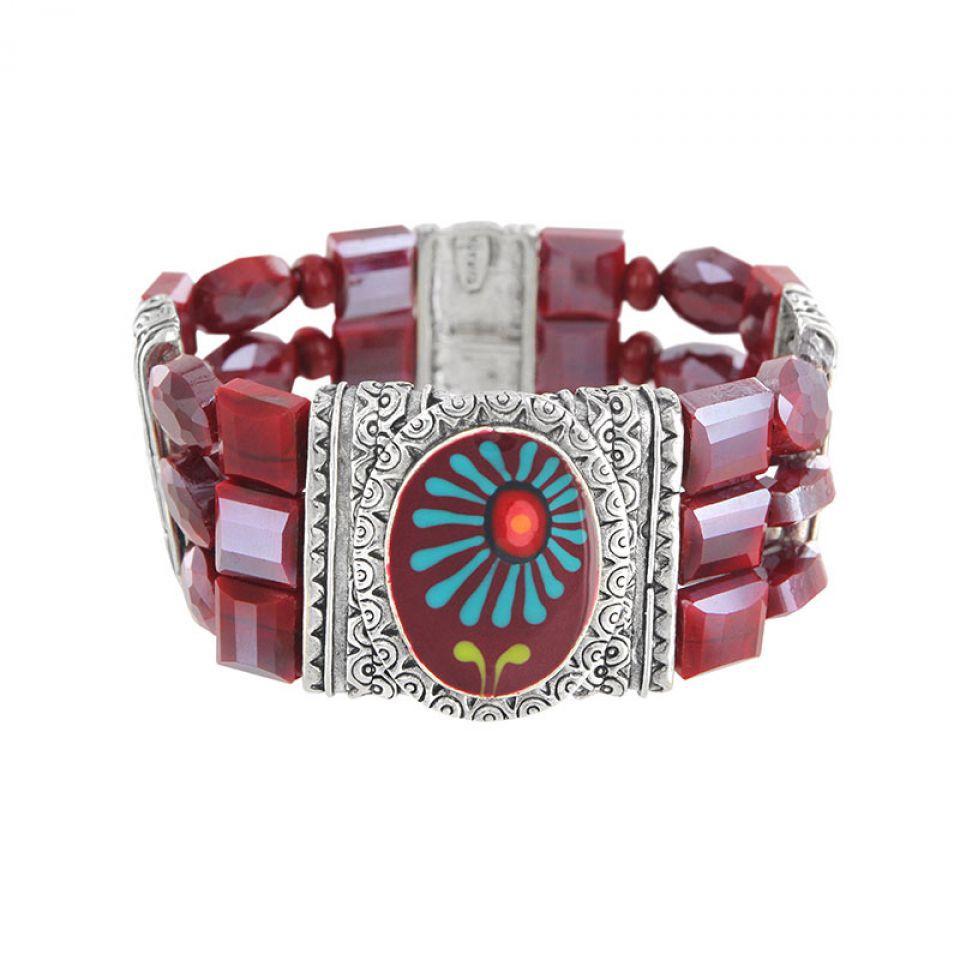 Bracelet Ruby Argent Rouge Taratata Bijoux Fantaisie en ligne 1