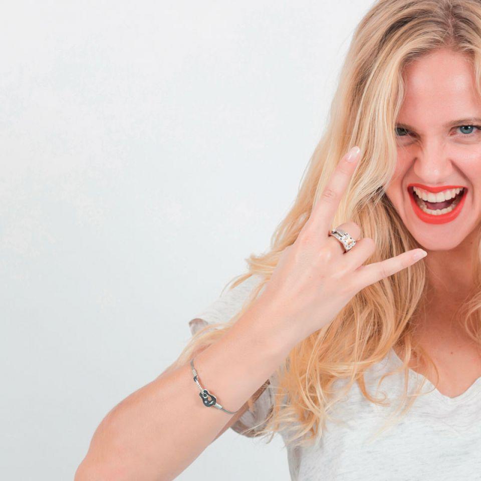 Bracelet Taraboum Argent Noir Taratata Bijoux Fantaisie en ligne 1