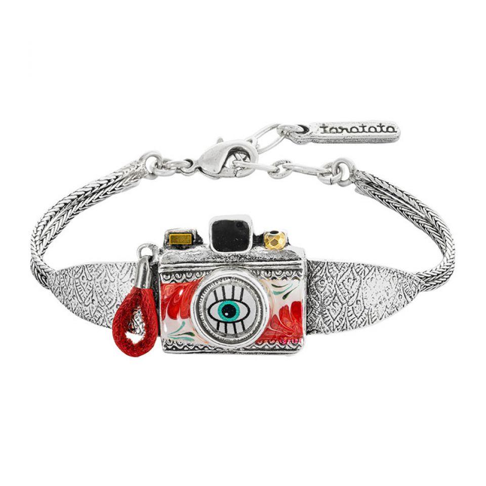 Bracelet Souriez Argente Rouge Taratata Bijoux Fantaisie en ligne 1