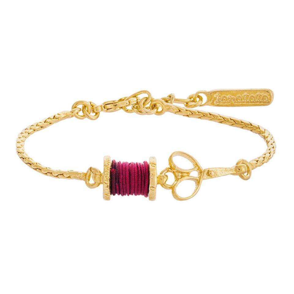 Bracelet Rembobine Dore Rouge Taratata Bijoux Fantaisie en ligne 1