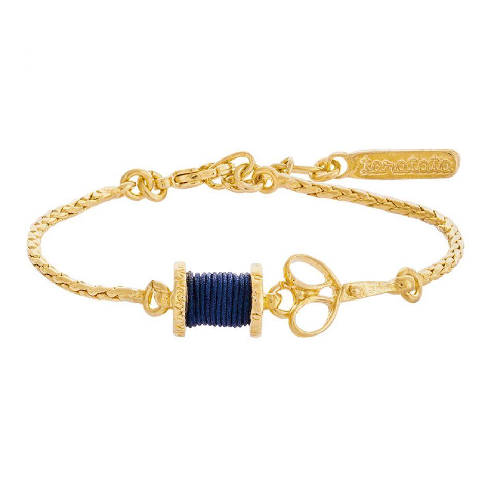 Bracelet Rembobine Dore Bleu Taratata Bijoux Fantaisie en ligne 1
