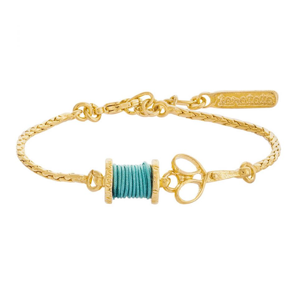 Bracelet Rembobine Dore Turquoise Taratata Bijoux Fantaisie en ligne 1