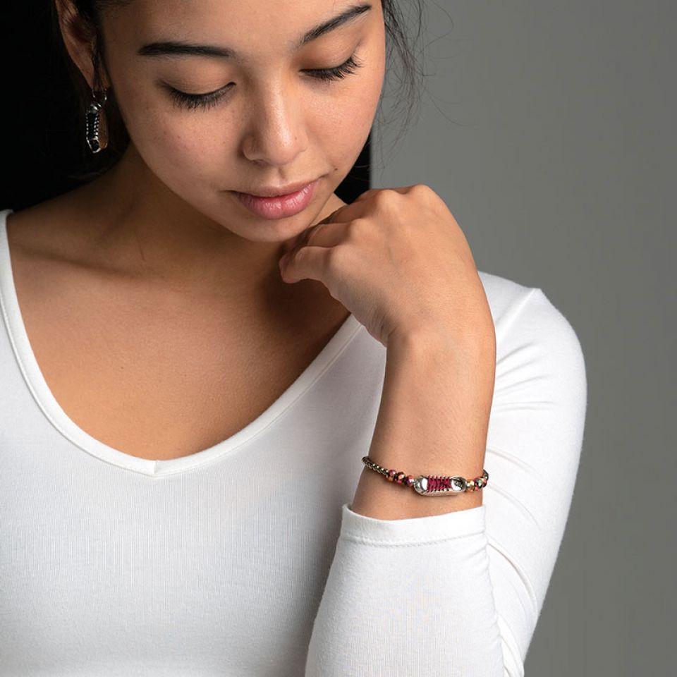 Bracelet Cours Toujours Argente Rouge Taratata Bijoux Fantaisie en ligne 2