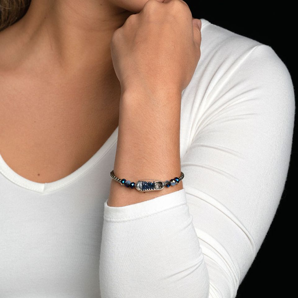Bracelet Cours Toujours Argente Bleu Taratata Bijoux Fantaisie en ligne 1