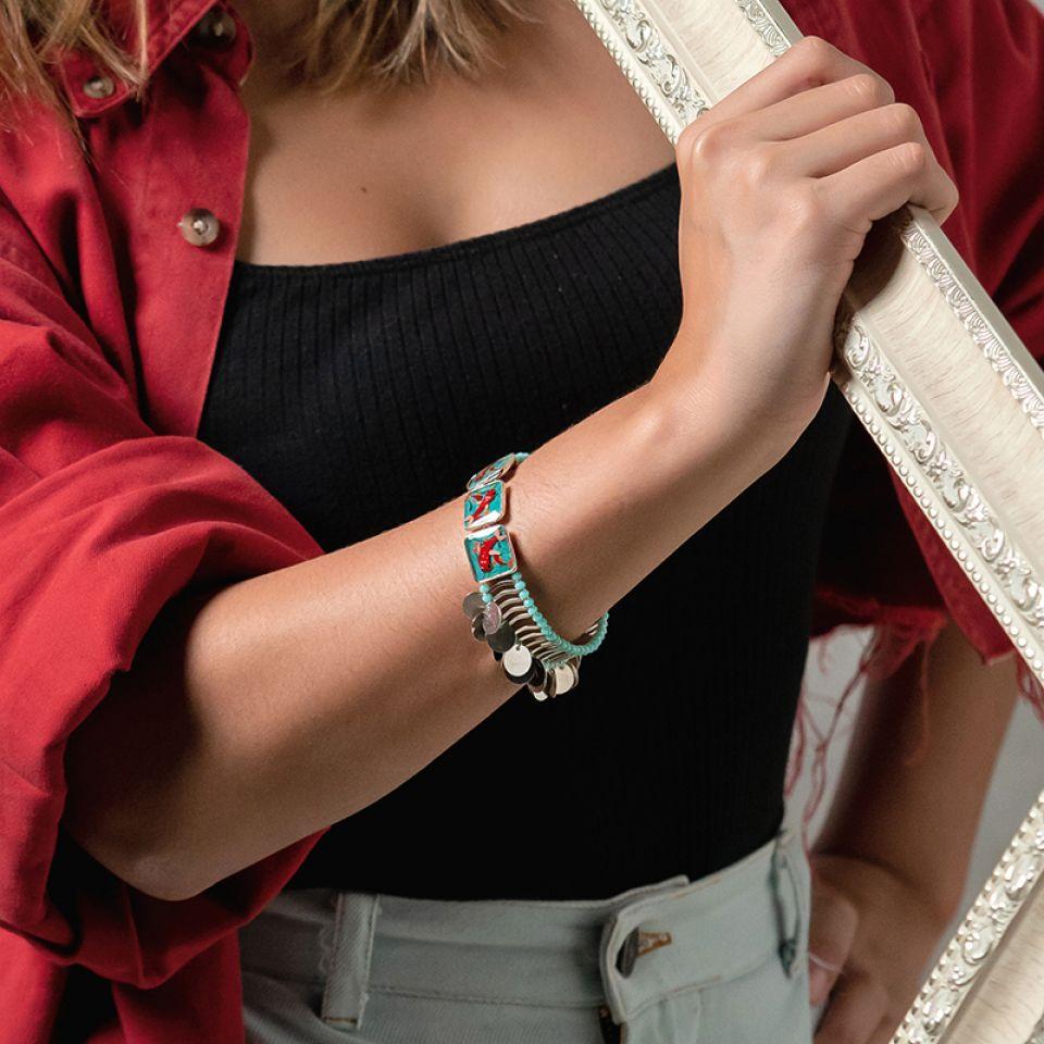 Bracelet Zigzag Argente Bleu Taratata Bijoux Fantaisie en ligne 2