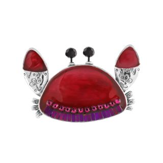 Broche Corail Argent Rouge