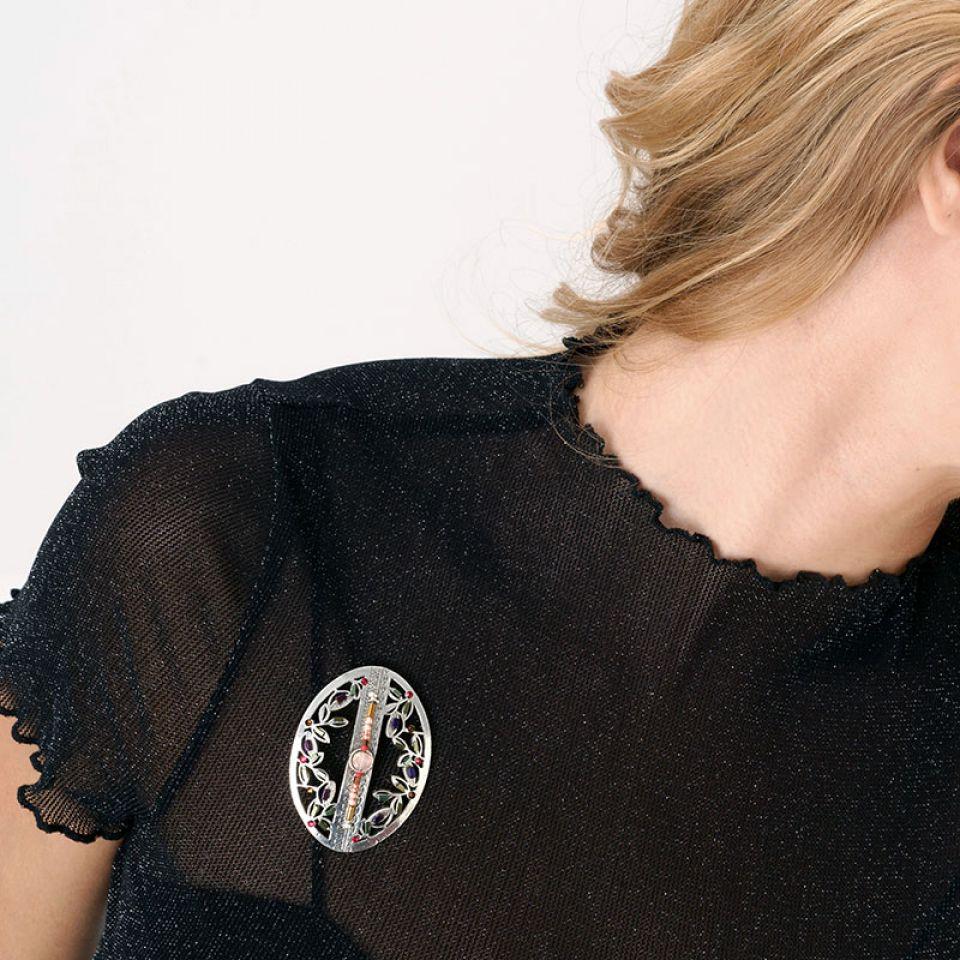 Broche Lola Couleur Argent Rose Taratata Bijoux Fantaisie en ligne 2