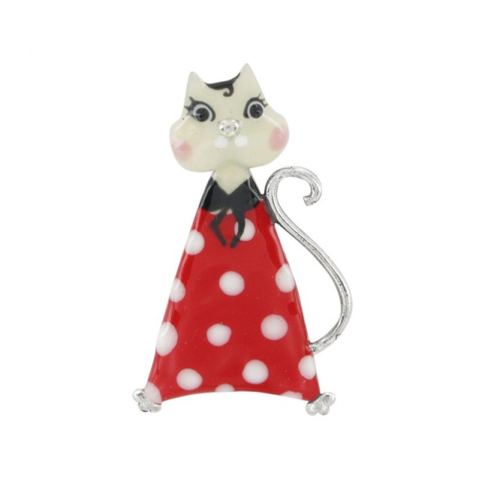 Broche Smart Cat Rouge Taratata Bijoux Fantaisie en ligne 1