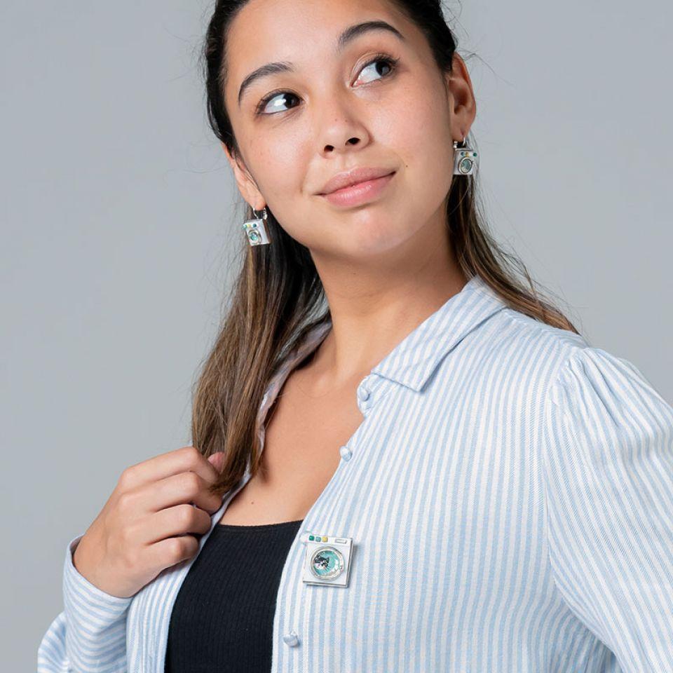 Broche Essorage Argente Blanc Taratata Bijoux Fantaisie en ligne 2