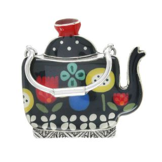 Broche Tea For Two Argent Multi