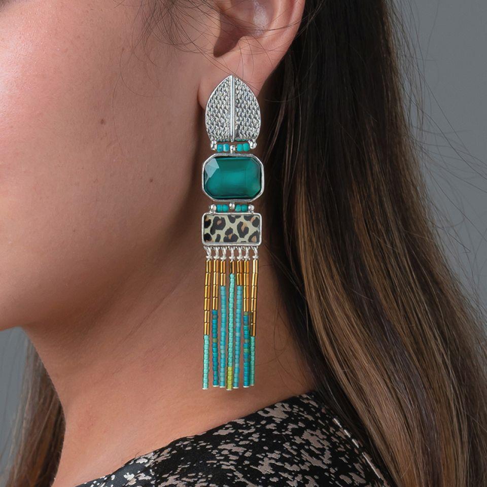 Clips Panthere Bleue Argente Turquoise Taratata Bijoux Fantaisie en ligne 1