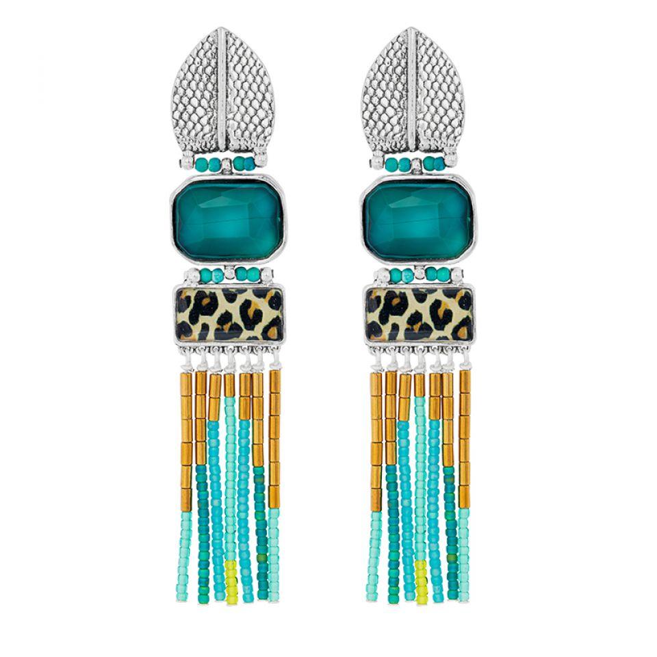 Clips Panthere Bleue Argente Turquoise Taratata Bijoux Fantaisie en ligne 2