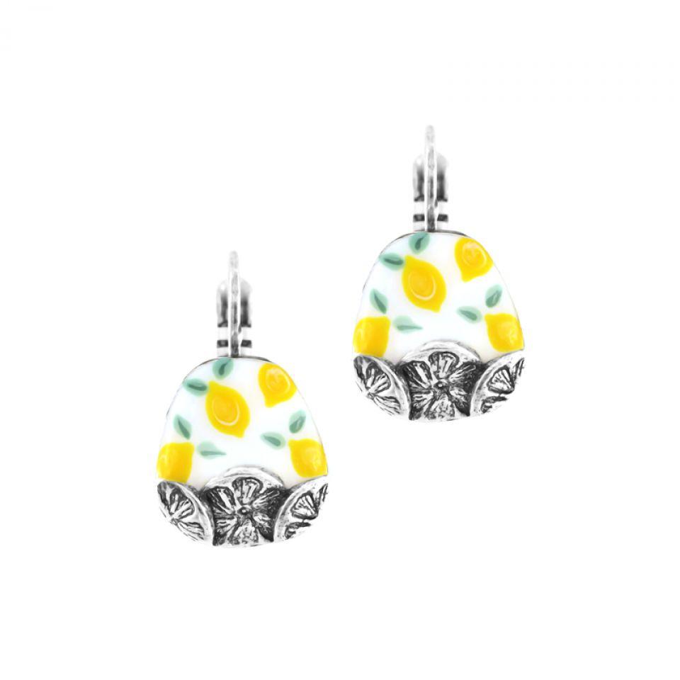 Dormeuses Lemon Argent Jaune Taratata Bijoux Fantaisie en ligne 1