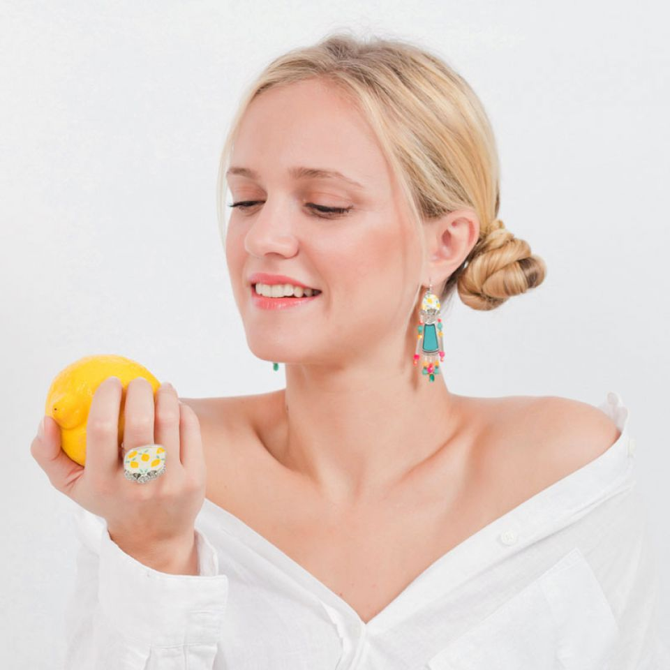Dormeuses Lemon Argent Multi Taratata Bijoux Fantaisie en ligne 2