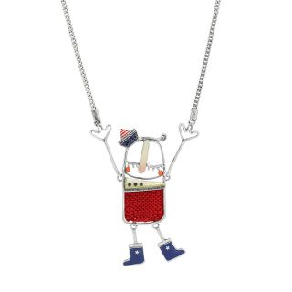 Collier A L Abordage Argent Rouge
