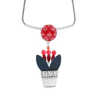 Collier Bisou Argent Rouge