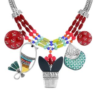 Collier Bisou Argent Multi