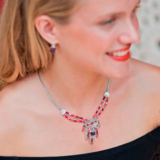Collier Grenadine Argent Rouge