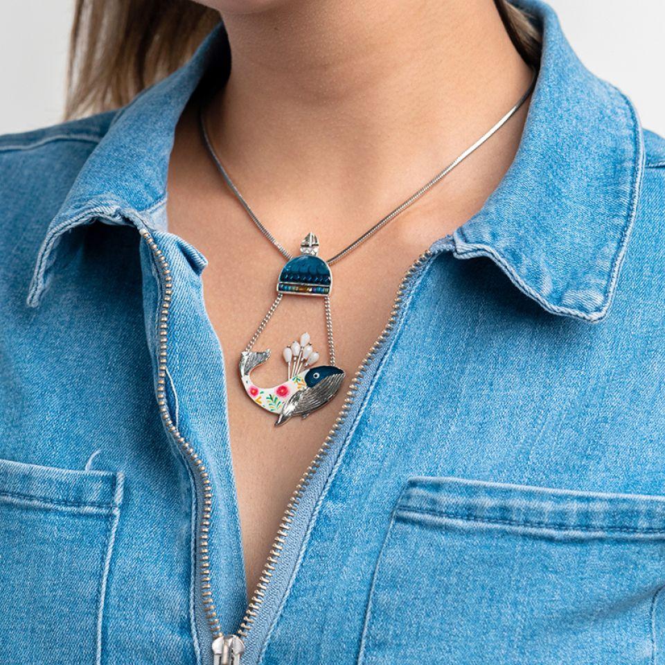 Collier Longue-vue Argente Bleu Taratata Bijoux Fantaisie en ligne 1