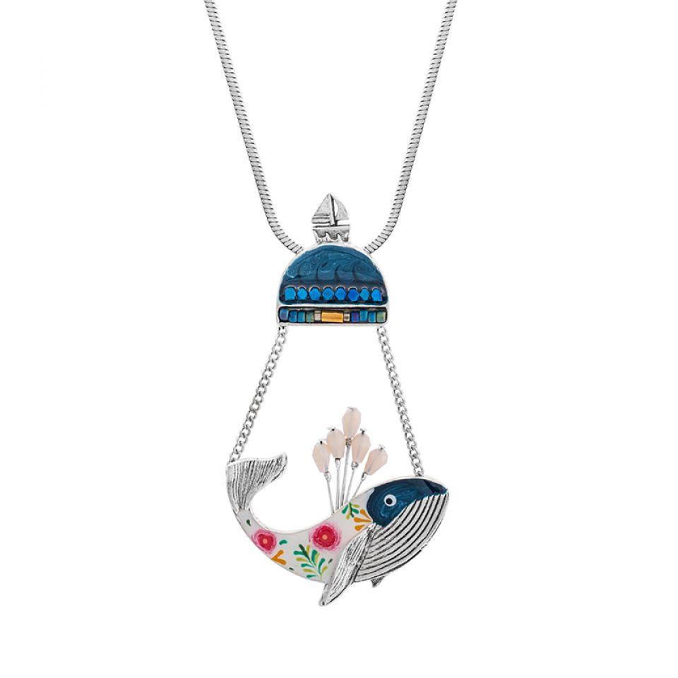 Collier Longue-vue Argente Bleu Taratata Bijoux Fantaisie en ligne 2