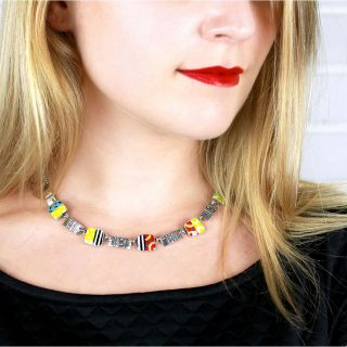 Collier Pop-art Argent Multi