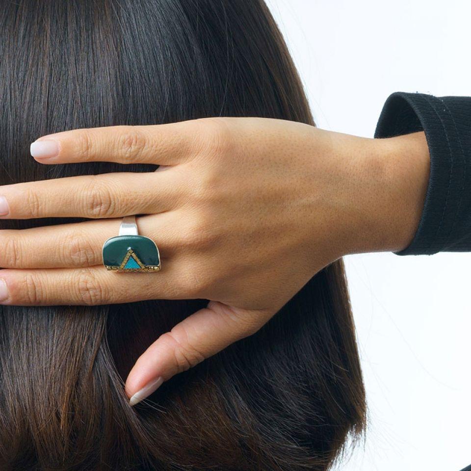 Bague Africa Pop Couleur Argent Vert Taratata Bijoux Fantaisie en ligne 2