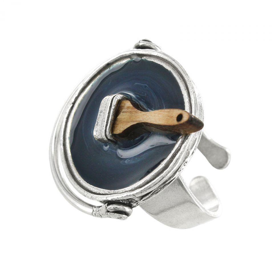 Bague Archi-chic Argent Bleu Taratata Bijoux Fantaisie en ligne 3