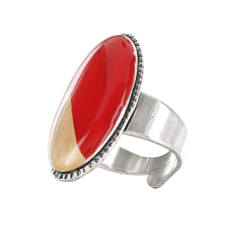 Bague Dressing Argent Rouge Taratata Bijoux Fantaisie en ligne 1