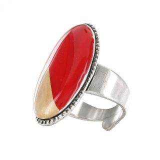 Bague Dressing Argent Rouge