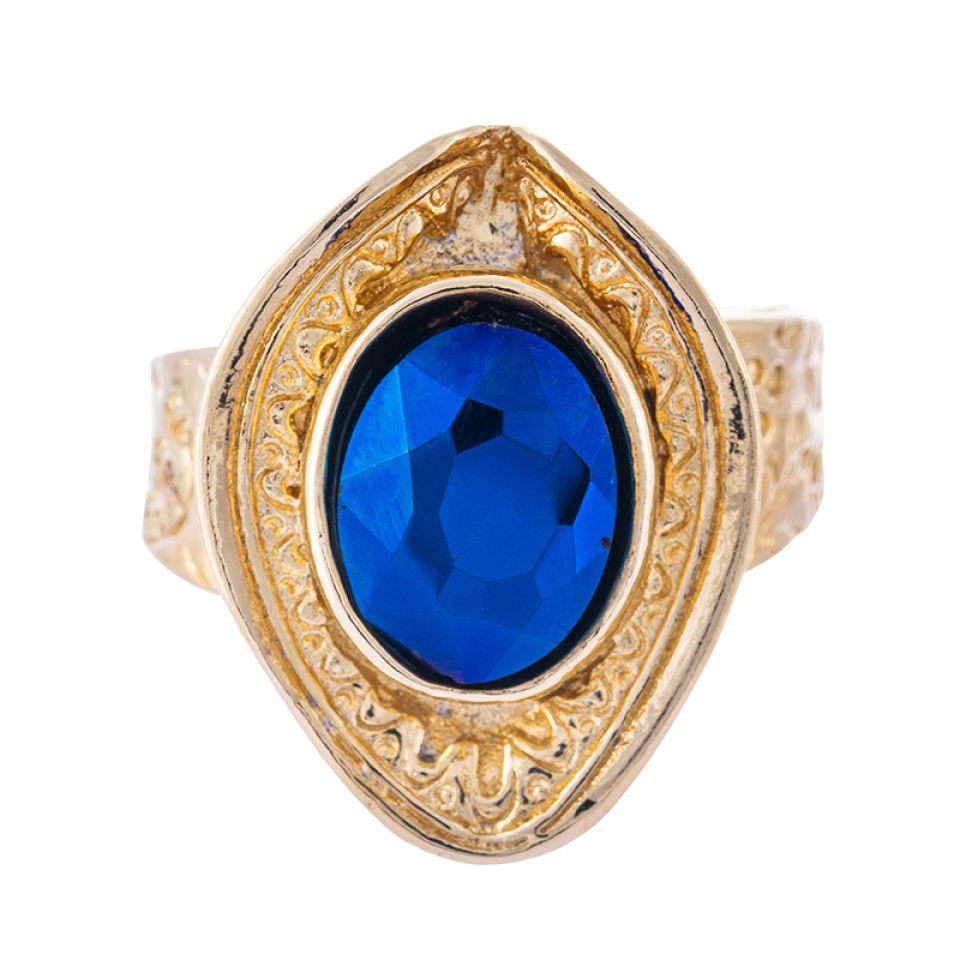 Bague Emeraude Dore Bleu Taratata Bijoux Fantaisie en ligne 3