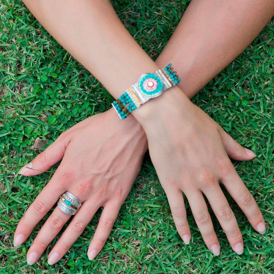 Bague Esperanza Argent Bleu Taratata Bijoux Fantaisie en ligne 2