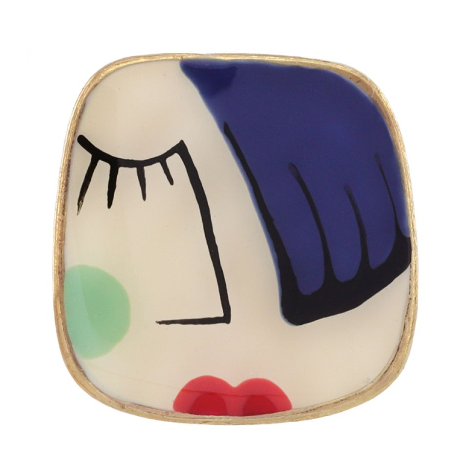 Bague Face A Face Dore Bleu Taratata Bijoux Fantaisie en ligne 3