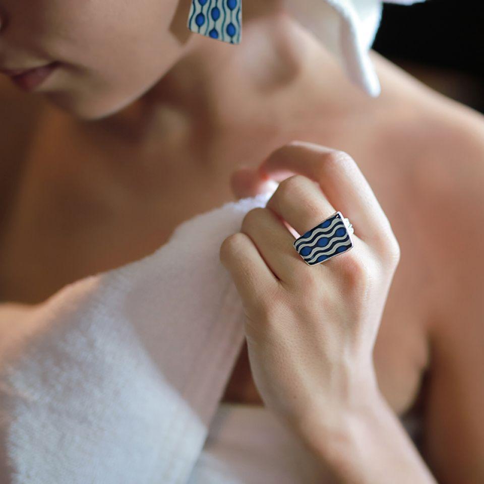 Bague Gombos Argent Bleu Taratata Bijoux Fantaisie en ligne 2