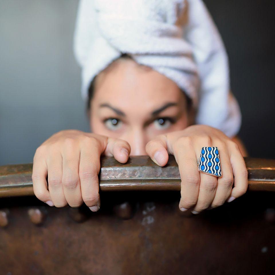 Bague Gombos Argent Bleu Taratata Bijoux Fantaisie en ligne 1